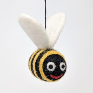 Chimney Sheep Woolly Felted Bee with a smile on white background