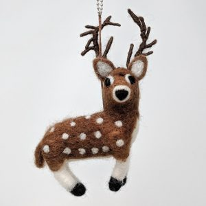 Chimney Sheep woolly felted deer on white background