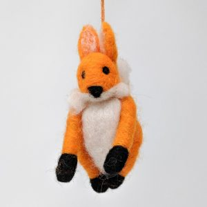 Chimney Sheep Woolly Felted Fox on white background