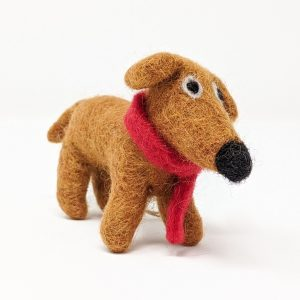 ruby woolly felted dog in red scarf