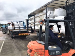 Operation wool involves loading 16 tonnes of Herdwick wool using a forklift truck onto 4 lorries