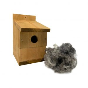 Nest box with wool