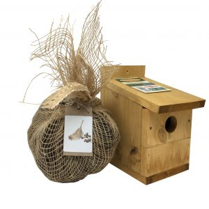 bird box with nest wool