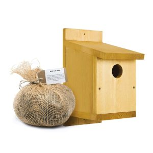 classic bird nest box with nest wool