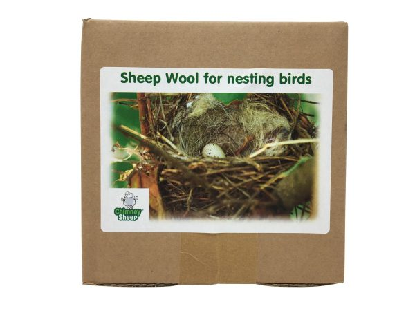 front of box of sheep wool for nesting birds