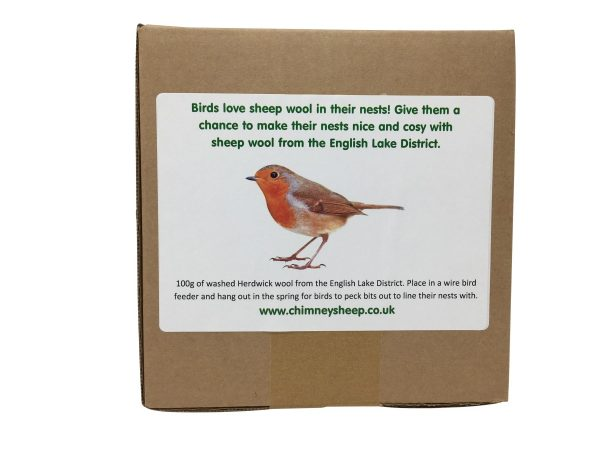 sheep wool nesting material rear label with picture of a robin