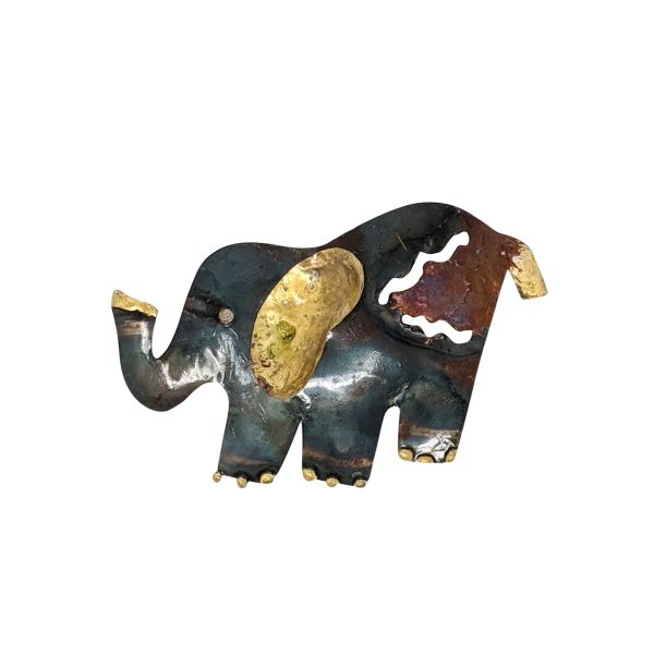 iridescent elephant made of recycled copper and tin