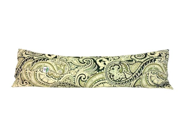 Italian green paisley door draught excluder filled with felted Herdwick wool