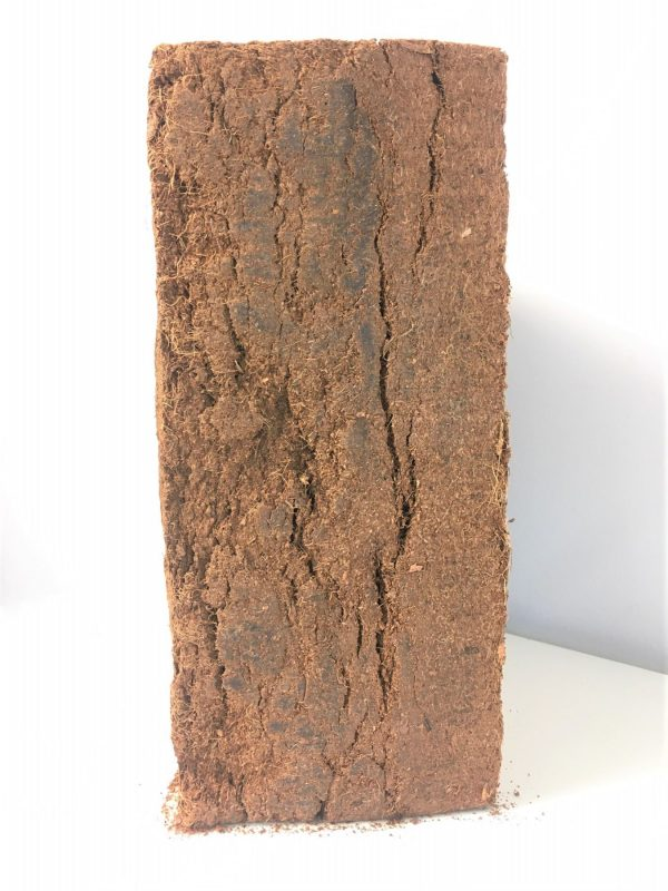 side view of 5kg block of Cocopeat in dense layers of peat free compost