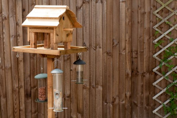 bird feeders hanging from hooks fixed under the bird table