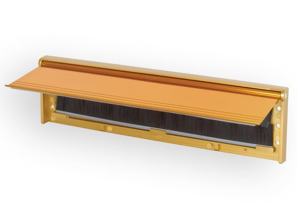 letterbox draught proofer with flap in gold