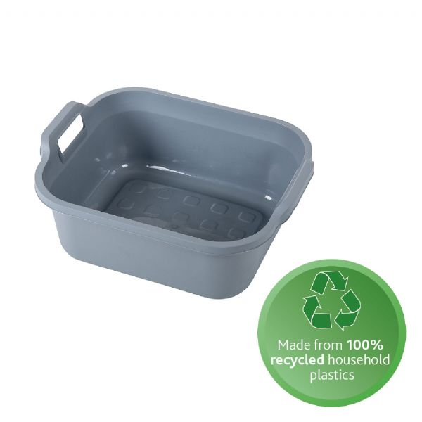 grey rectangular washing up bowl with handles, made of recycled plastic