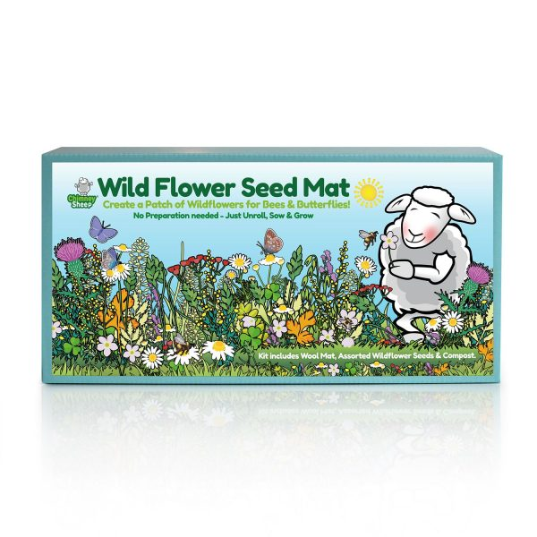 wildflower seedmat kit cheerful label with wildfowers and the Chimney Sheep logo sheep sniffing a flower