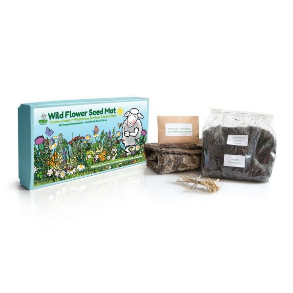 Wildflower seedmat kit with the contents on display
