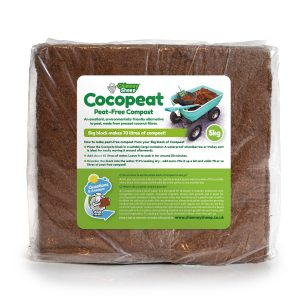 5kg block of cocopeat with image of cart full of 70 litres
