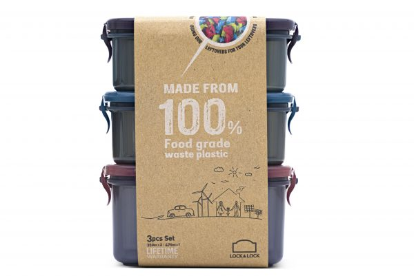 Recycled plastic snack boxes side view with packaging