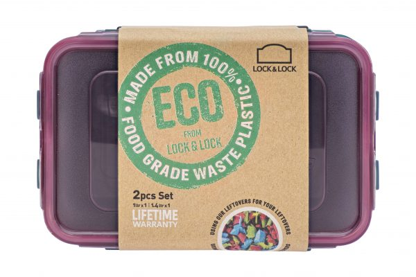 recycled plastic food container with packaging from above