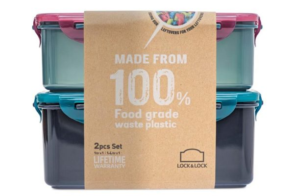 recycled plastic food storage with packaging from the side
