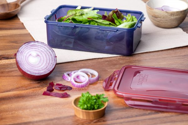 lunch box in use with salad