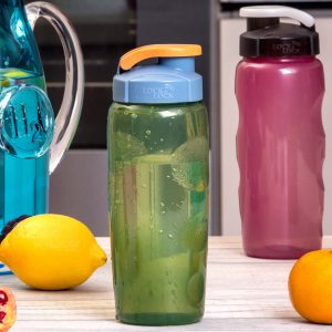 green and pink water bottles
